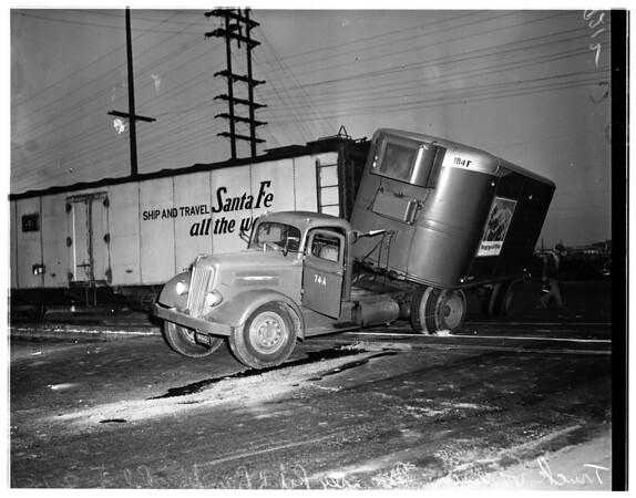 Truck vs. train (Downey Road and Bandini Boulevard), 1951