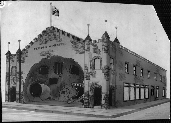 Artist's conception of the Temple of Mirth funhouse in the amusement park in Venice Beach, ca.1900