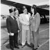 Imperial potentate greeted at airport, 1953