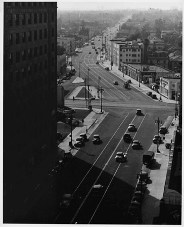 Intersection of Olympic Boulevard and Figueroa Street, facing west