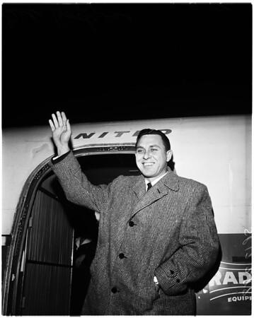 Baseball -- Dodgers star arrives, 1958