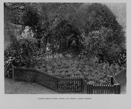 The Ginger Bread House and Hansel and Gretel in the Lower Garden of Busch Gardens, ca. 1910-1940