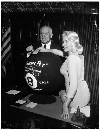 """""""Miss 8 Ball"""" at Governor's office, 1958"""