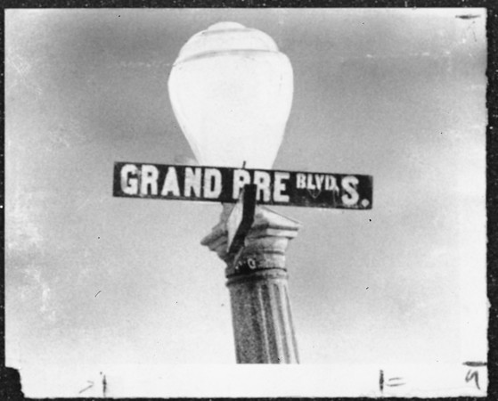 Grand Pre Boulevard South street sign and street light, 1959