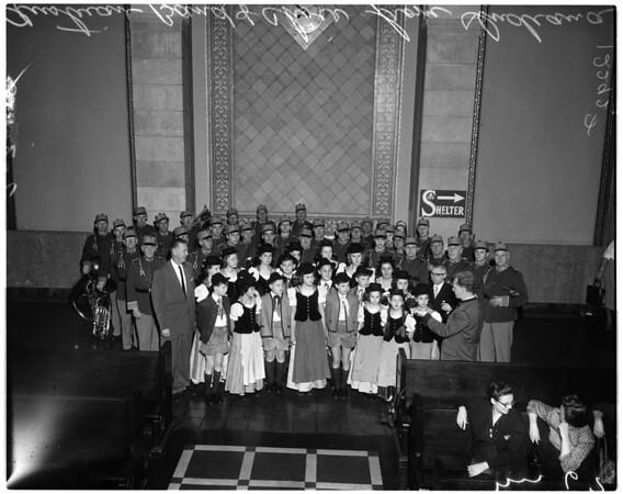 Austrian band and Vienna Woods Choir, 1958