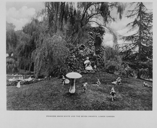 The Princess Snow-White and the Seven Dwarfs in the Lower Garden of Busch Gardens, ca. 1910-1940