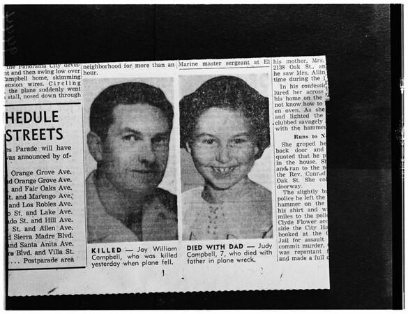 Killed in plane crash (suicide-murder), 1952