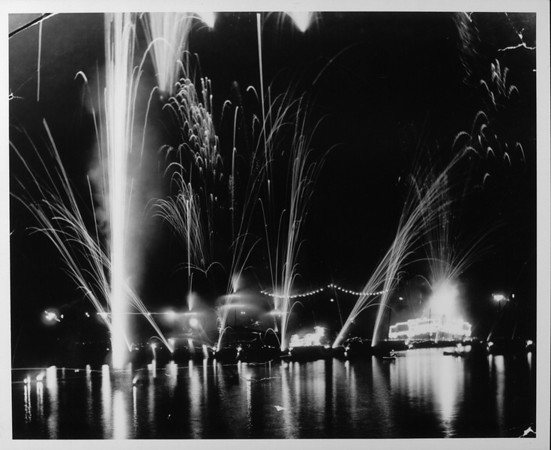 Fireworks over the water and the amusement park and pier at Venice Beach at night, [s.d.]