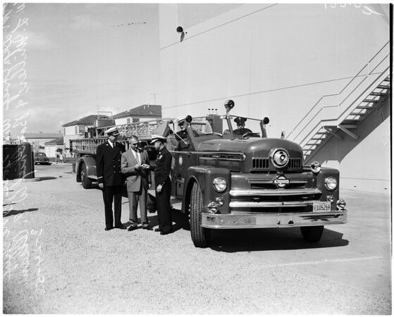New $51,000 aerial ladder truck for Westchester Fire Station, 1958.