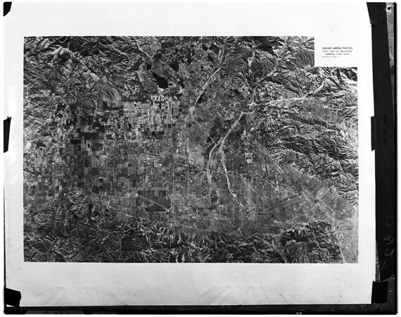 Aerial photo of map of San Fernando Valley, 1958