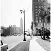 New type light standard on Wilshire Boulevard, 1956