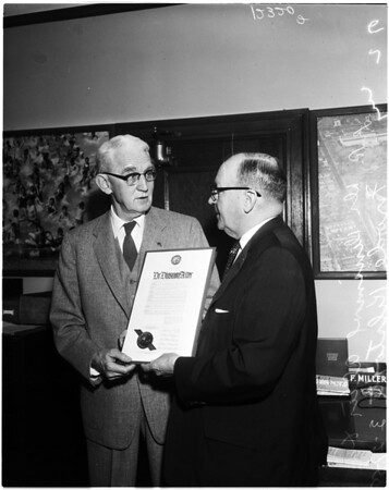 Doctor Dinsmore Alter honored at City Hall, 1958