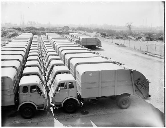 New rubbish trucks in Pacoima yard at 9701 San Fernando Road, 1957