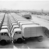 New rubbish trucks in Pacoima yard at 9701 San Fernando Road, 1957