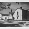 Exterior side angle shot of the Pasadena Public Library, ca. 1930