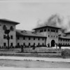 Long shot of the Union Stock Yards Administration building, 1923