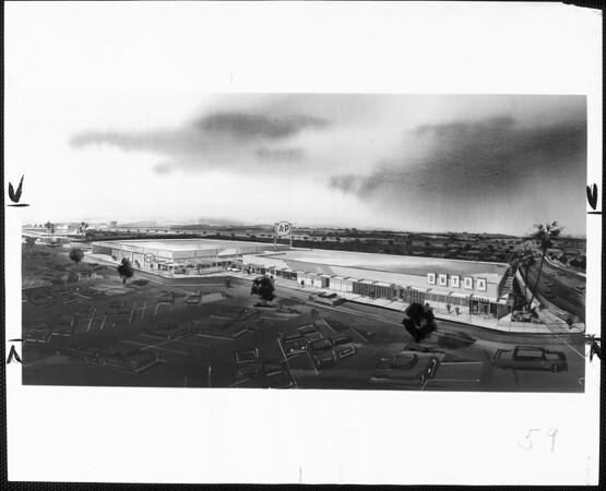 A drawing of Hastings Ranch shopping center, Pasadena, 1958