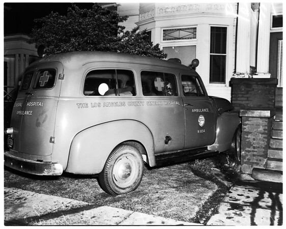 Ambulance stolen from General Hospital and crashed into house of Frank Luisi, (not in picture), 2063 Griffin Avenue, 1952