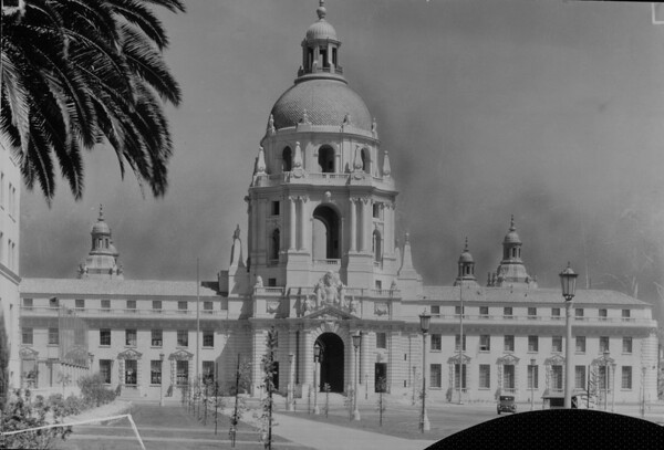 Facade of the Pasadena City Hall, ca. 1930