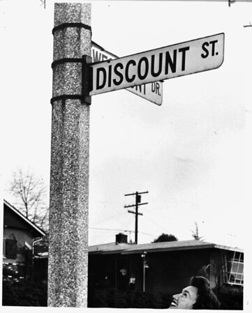 """Discount Street"" sign originally intended to read ""Viscount Street"", Los Angeles, 1958"
