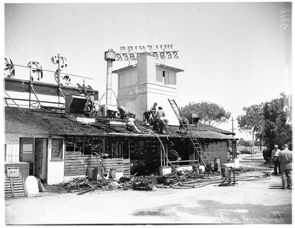 Fire at San Vicente and Wilshire, 1951