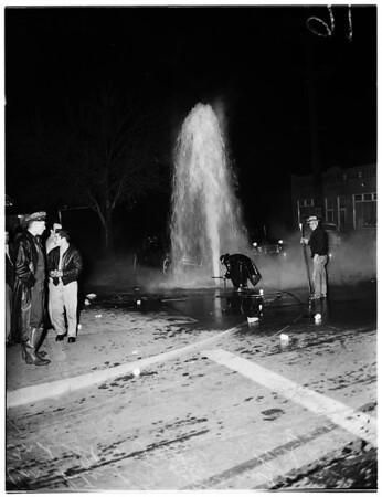 Car hits fire hydrant, 1952