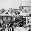 Crowds outside at the Venice Beach Amusement Park in Venice, between Seventeenth Street and Thirty-fourth Street along the ocean front, ca.1900-1920