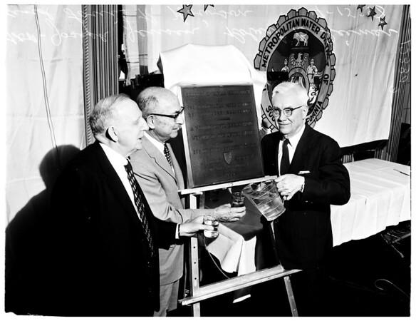 Water award (plaque presentation), 1958