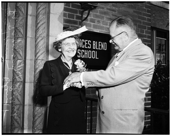 Frances Blend is new name for Los Angeles School for Blind, 1952