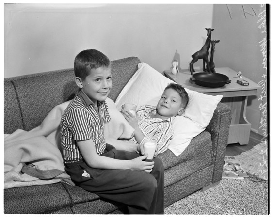 Two boys saved from drowning, 1958