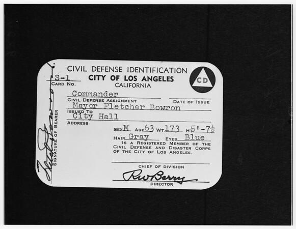 Copy -- civilian defense identifiation (City of Los Angeles), 1951