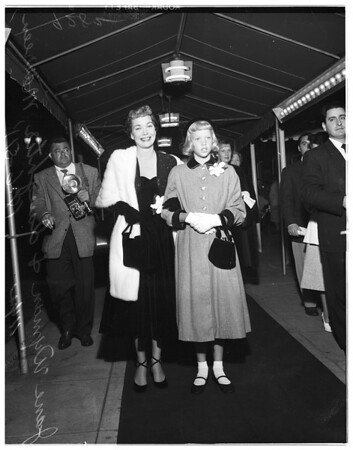 """At premiere of """"The Blue Vail"""", 1951"""