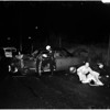 Traffic accident on San Bernardino freeway due to heavy rain, 1958