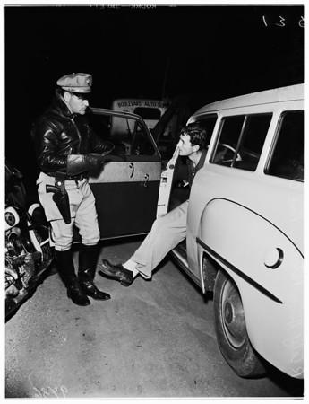 Traffic blockade (Slauson Avenue and Fairfax Avenue), Drunk driving, 1951