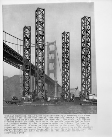 World's largest mobile offshore platform, San Francisco, 1958