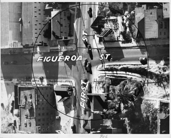 Aerial photo of the intersection of First Street and Figueroa Street, with the orientation of the photo facing east