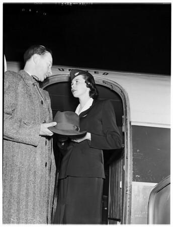 Swedish visitor... won world trip in Swedish radio contest, 1952