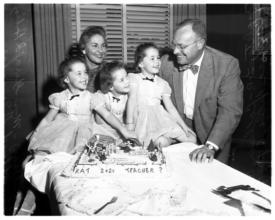 Triplets birthday party at Lincoln Hospital, 1958