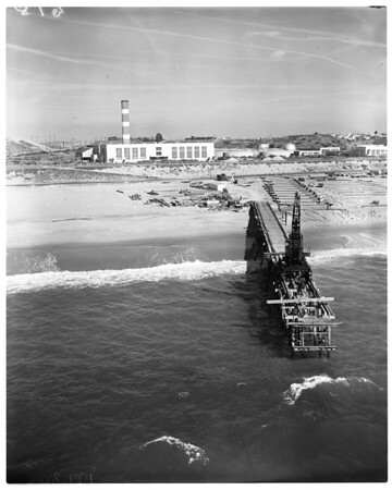 Aerial view of beginning of new outfall construction at Hyperion Wastewater Treatment plant, 1957