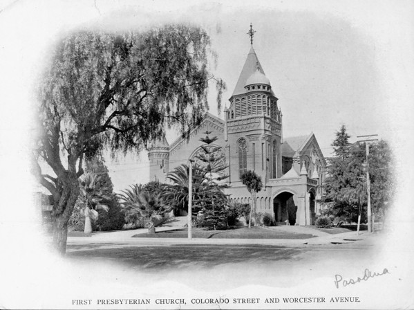The First Presbyterian Church, at the corner of Colorado Street and Worcester Avenue, ca. 1889-1910