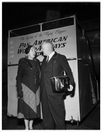Mayor Bowron emplanes for Tokyo on Trip Round the World, 1951