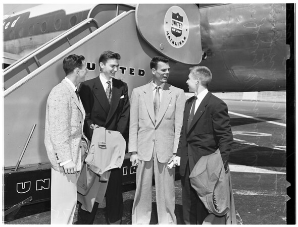 University of California, Los Angeles basketball team departs for Oregon for NCAA playoff, 1952