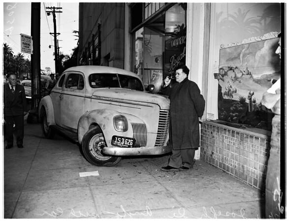 Car rolls down hill (no address), 1952
