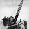 Crane balanced over Hyperion sewage plant project, 1948?