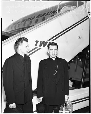 Bishop Manning flies to Spain, 1952