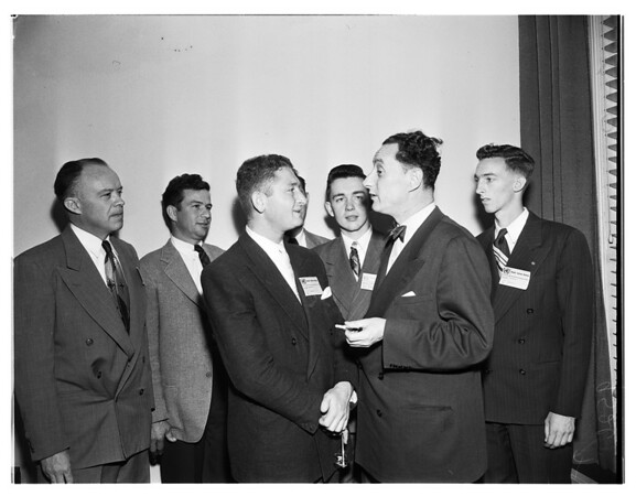 Yugoslav delegate visits model United Nations at University of Southern California, 1952