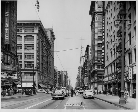 Looking down Broadway from Seventh Street in the Downtown shopping area, 1957