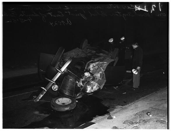 Auto hits underpass and overturns... at Washington Boulevard, east of Santa Fe Avenue, 1952