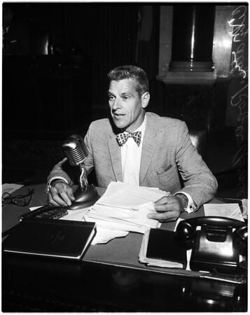 Baseball debate at city council, 1958