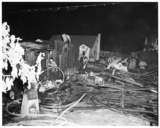 Garage fire (1007 Wilcox avenue), 1952